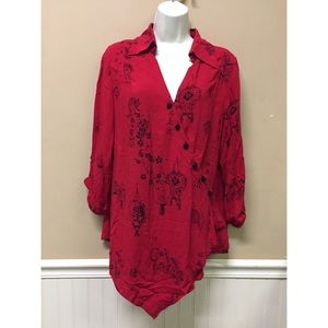 Soft Surroundings Tunic Wrap Top Red  Size PM